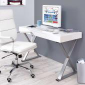 Schreibtisch Denver Hochglanz Chrom Optik Eine Schublade