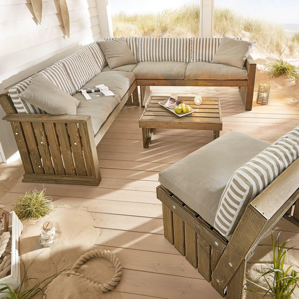 Auflagen für Garten-Sitzecke Lenja, wasserabweisend, Country-Style, 100% Baumwolle
