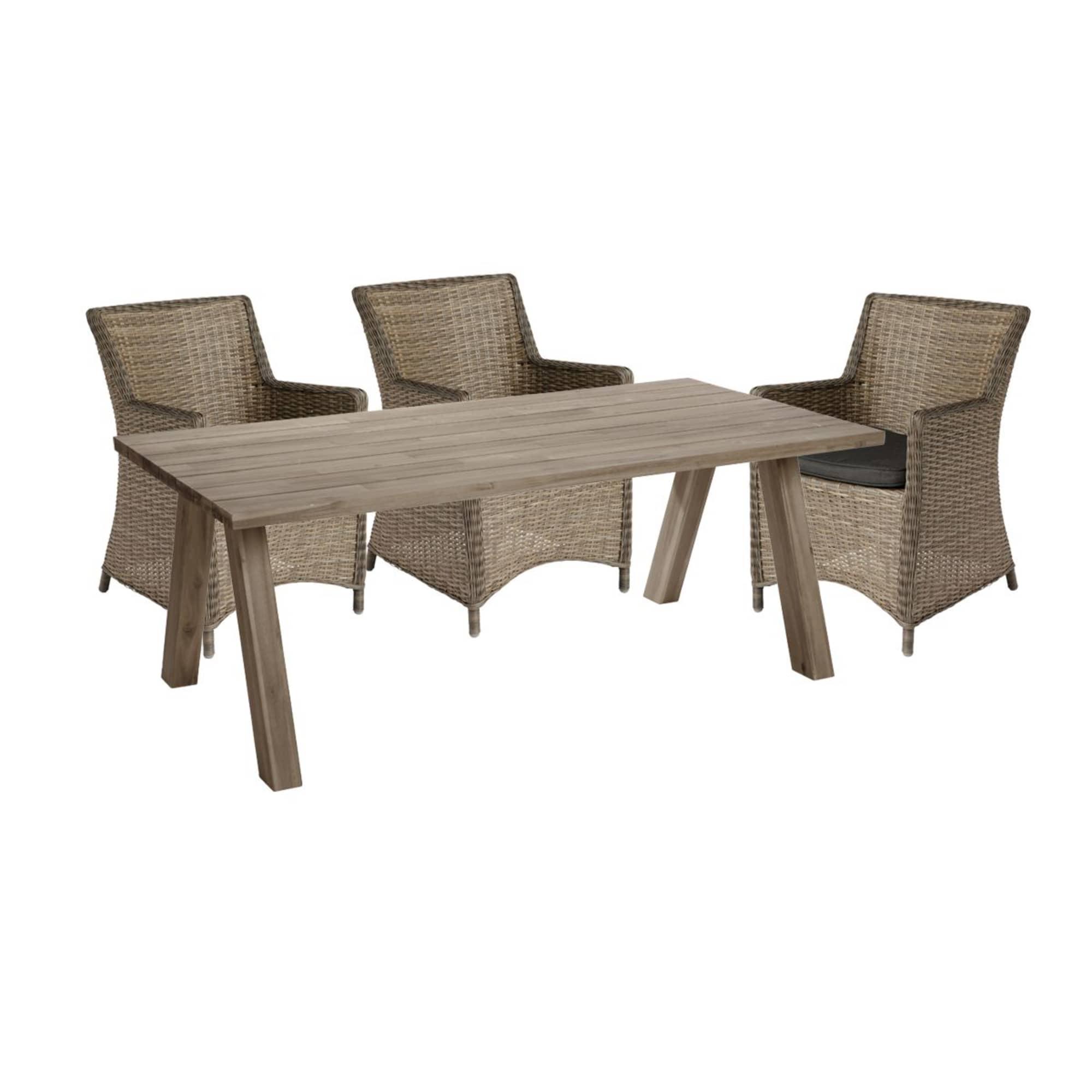 Gartenmöbel-Set, 5-tlg. Force, Rattan, Akazienholz