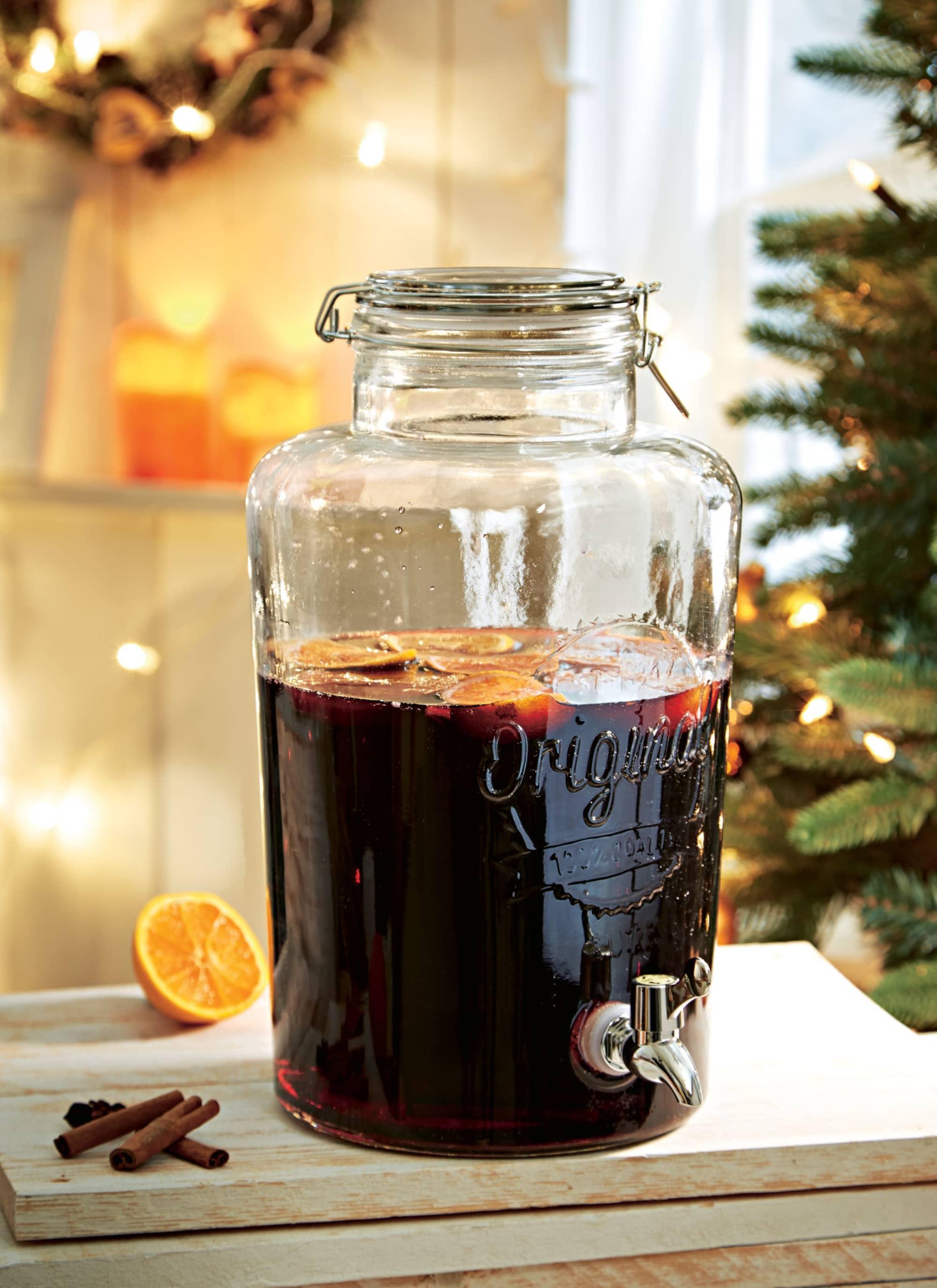 Getränkespender, mit Zapfhahn, Glas, 8 Liter