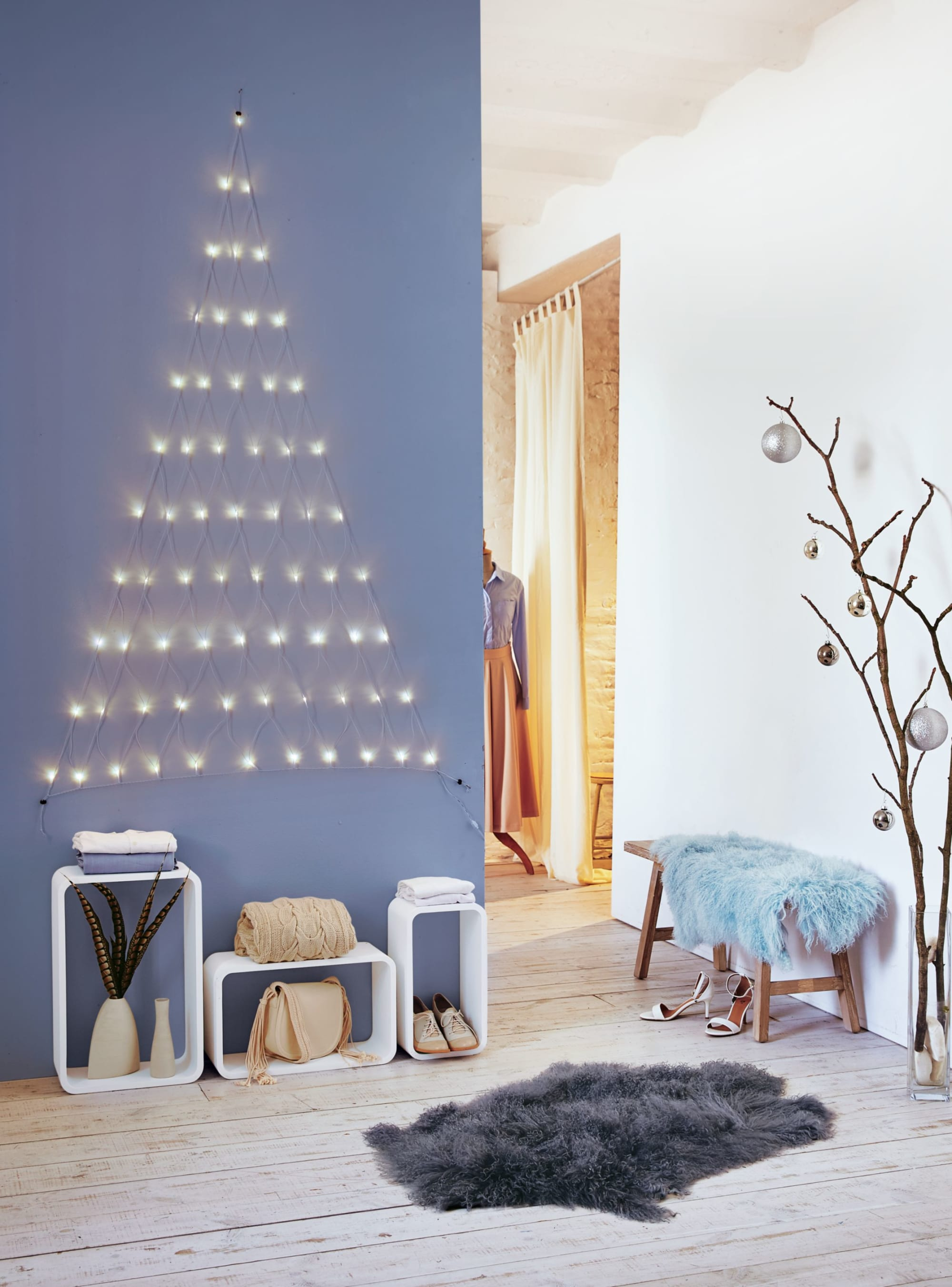 Tannenbaum Beleuchtet Kunststoff.Led Vorhang Tannenbaum Beleuchtet Kunststoff Kupfer 66 Led Ca B140x H150 Cm