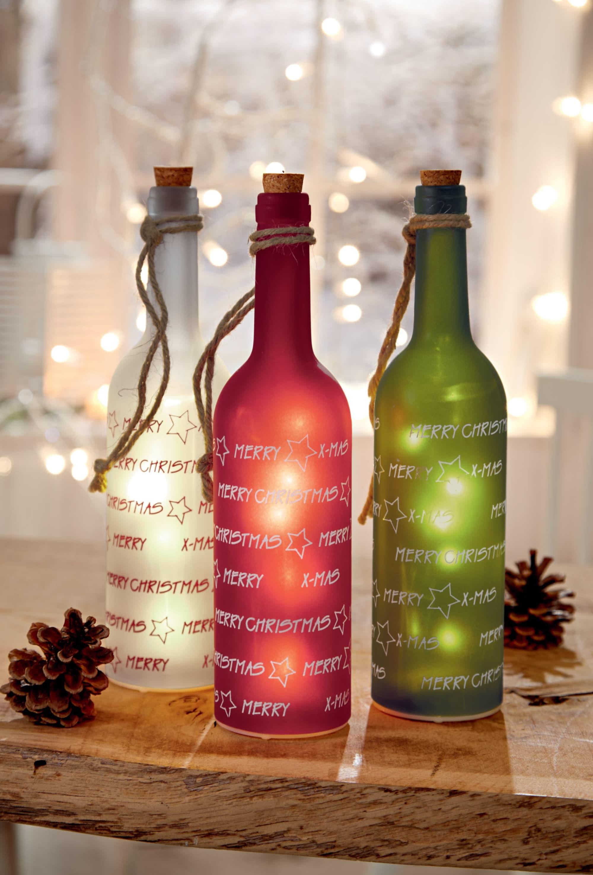 Beleuchtete Bilder Weihnachten.Beleuchtete Led Flasche Merry Christmas