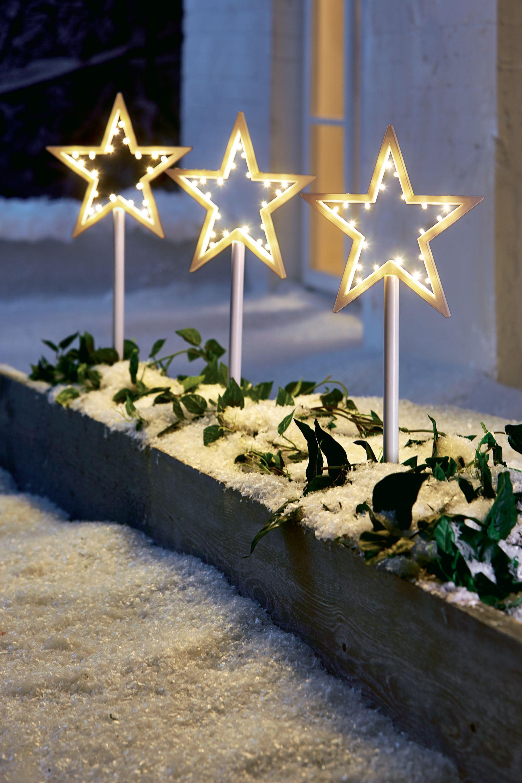 Gartenstecker Weihnachten.Led Gartenstecker Stern 3 Tlg