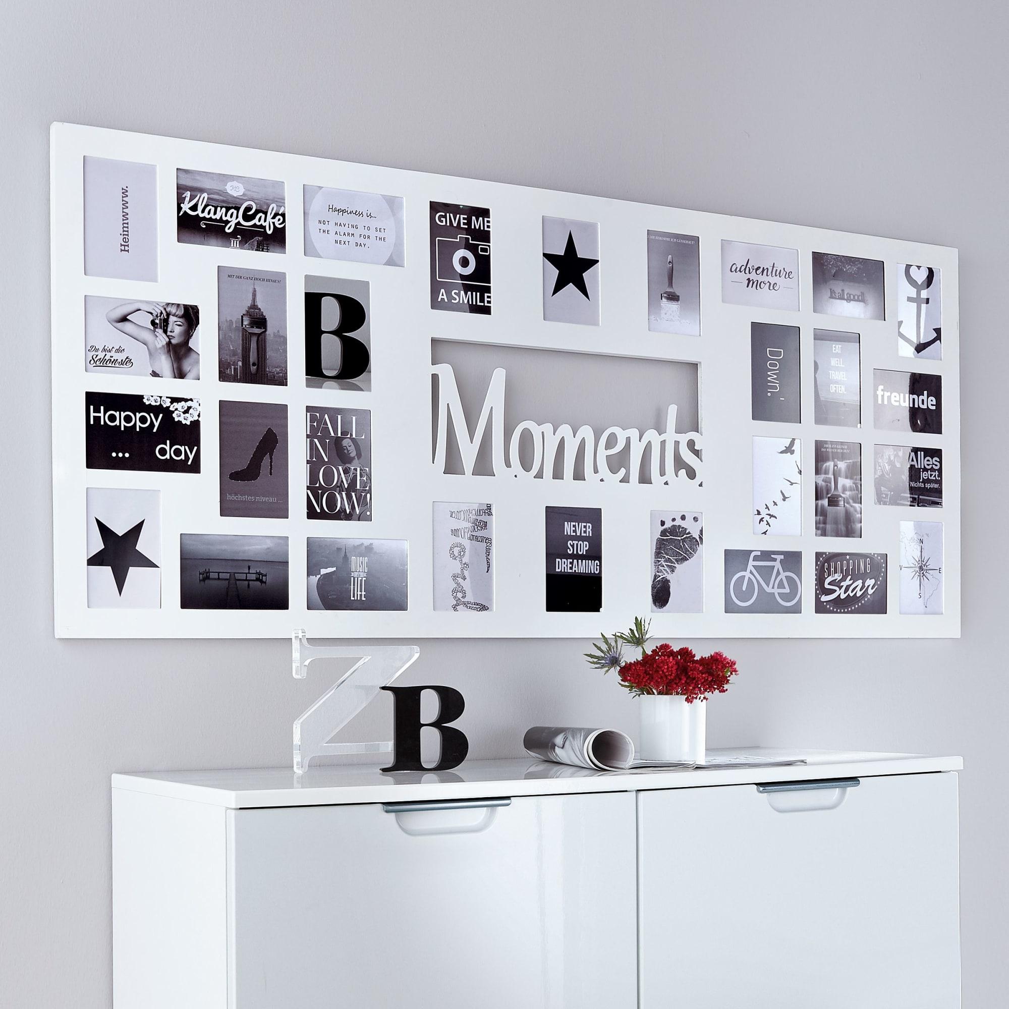 Bilderrahmen Moments, Für 30 Fotos, MDF, ca. B140 x H60 cm