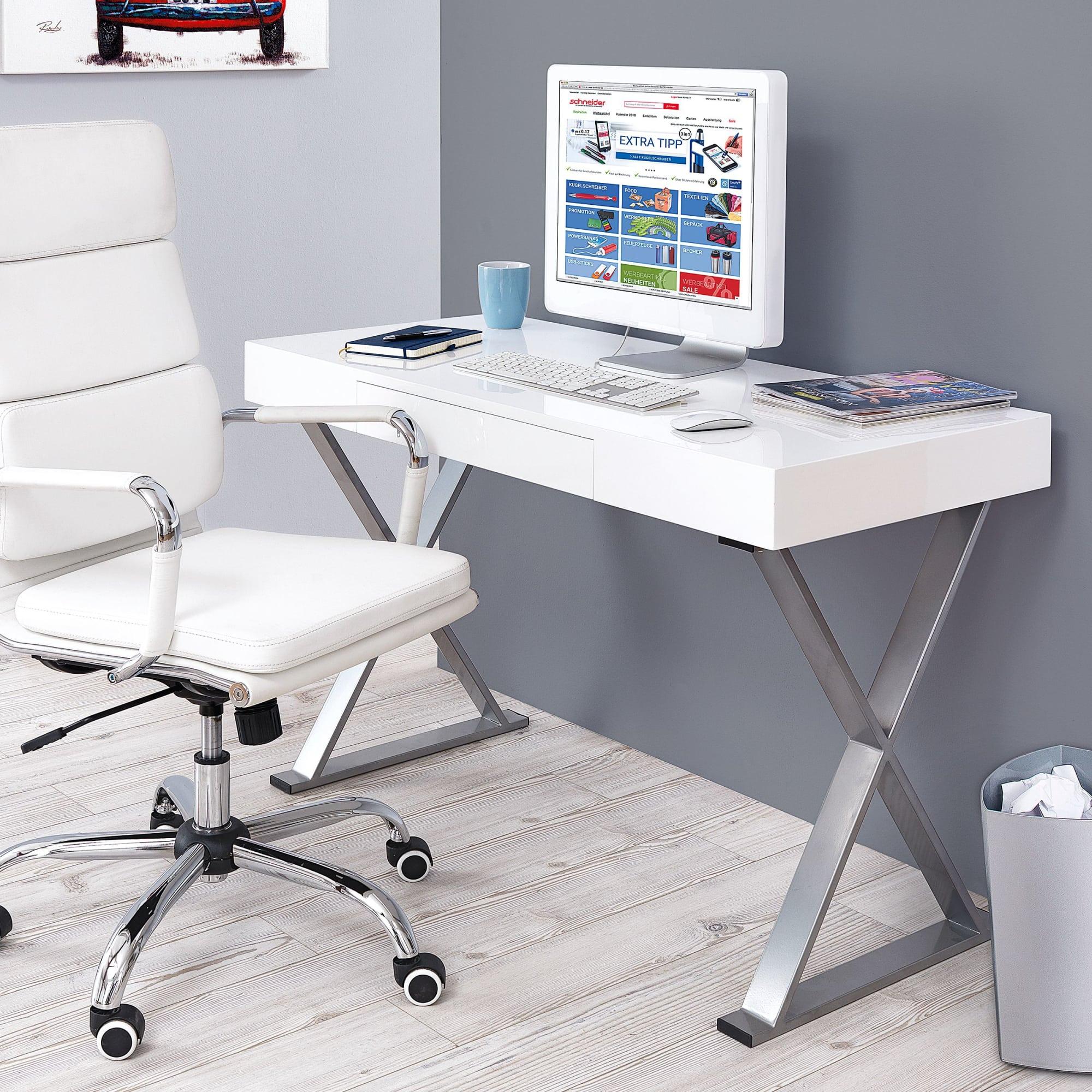 Schreibtisch Denver, Hochglanz, Chrom-Optik, eine Schublade
