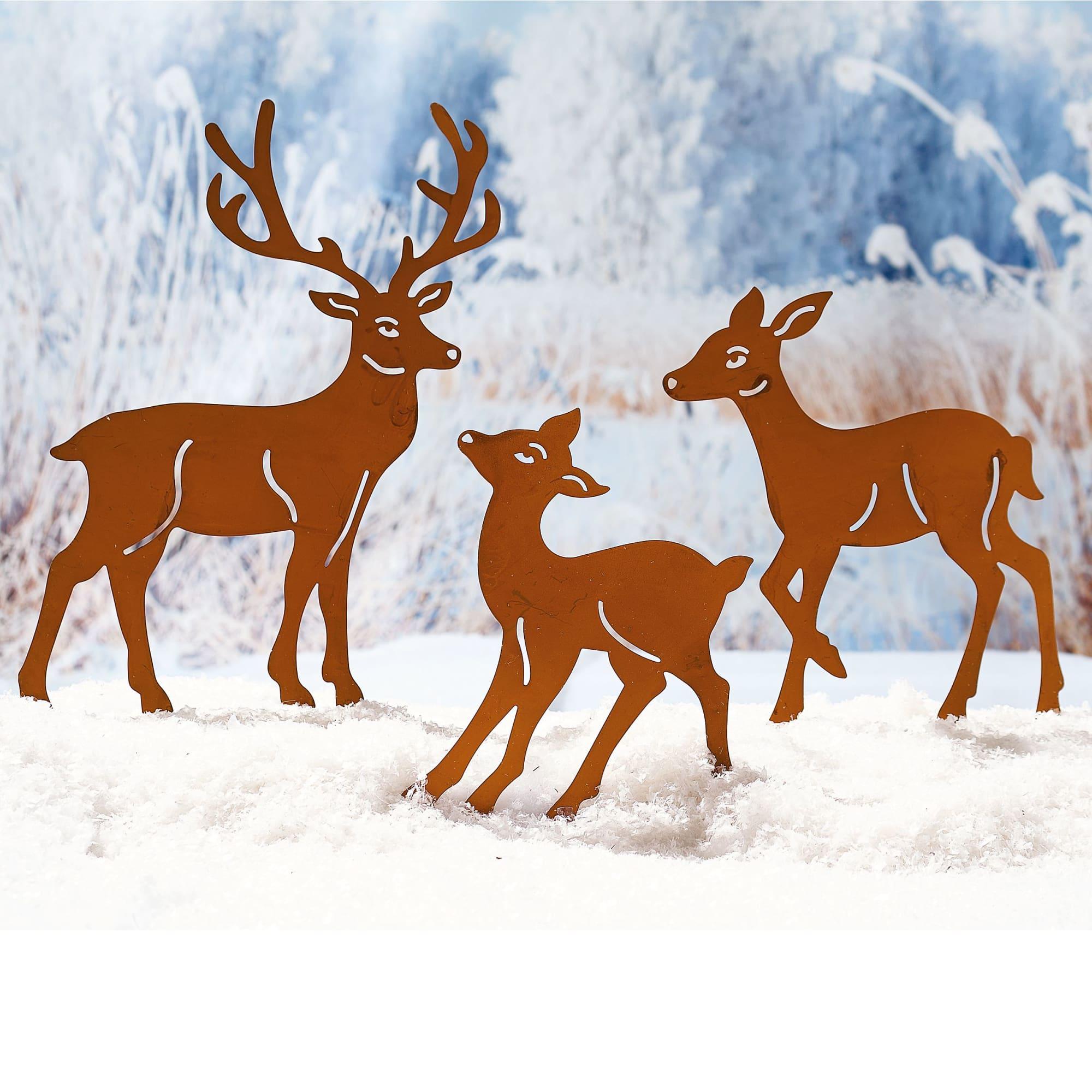 Gartenstecker Weihnachten.Gartenstecker Hirschfamilie 3 Tlg Im Rostfinish Zum Stecken