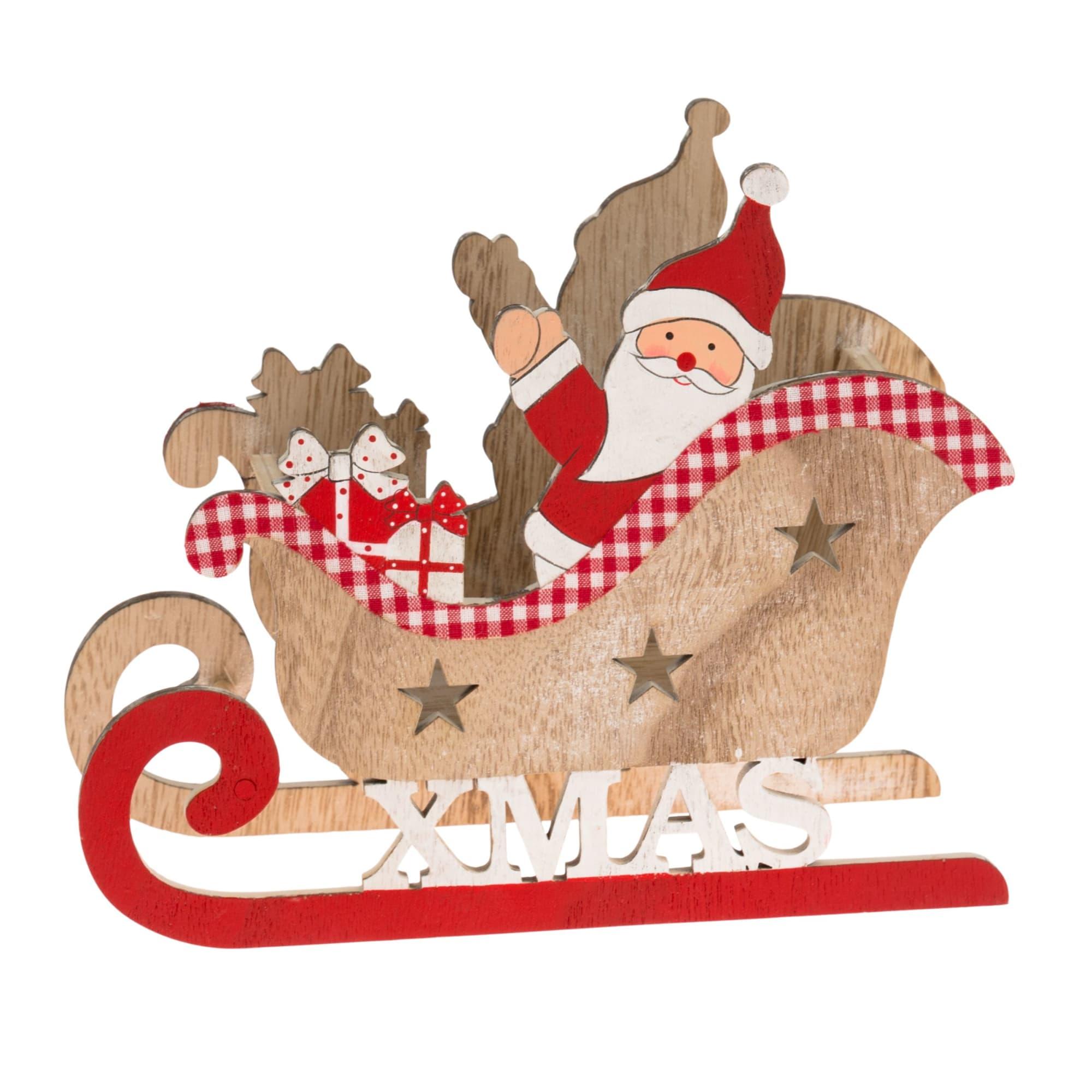 Deko-Objekt Weihnachtsschlitten Santa