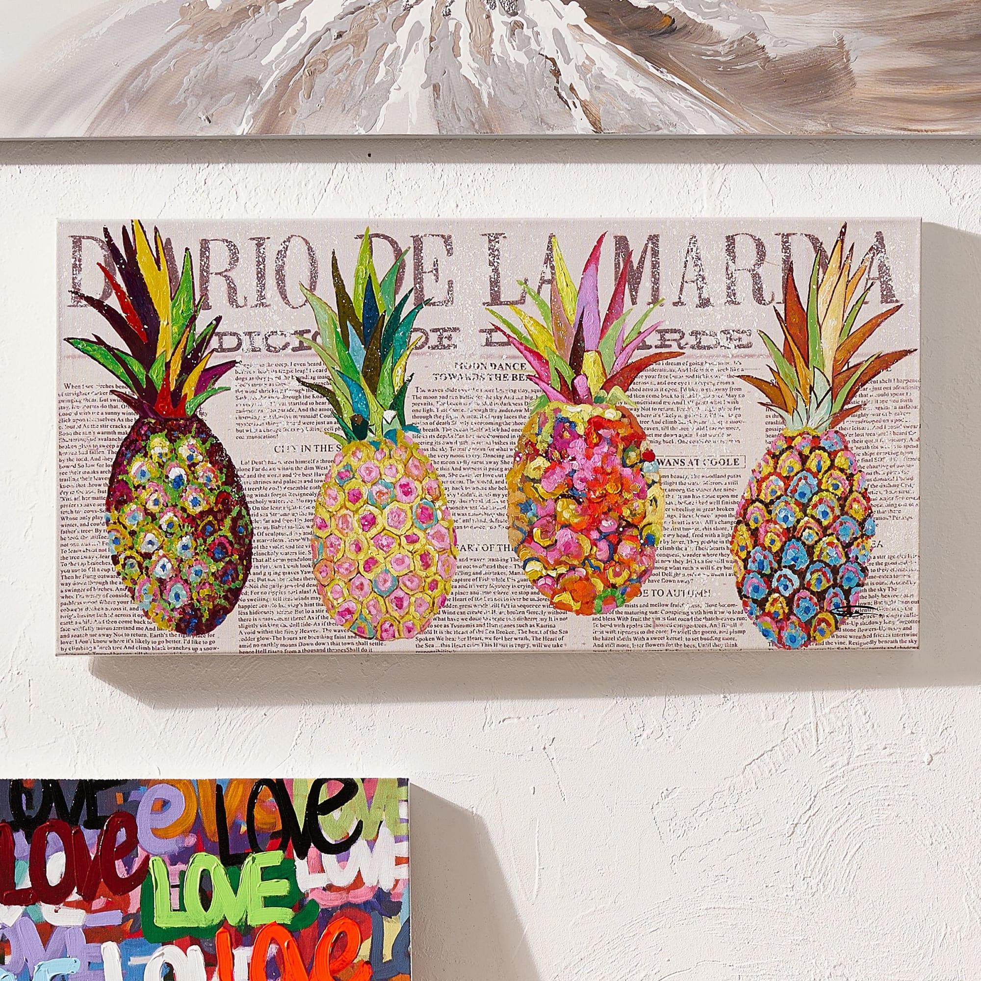 Bild Ananas handgemalt modern ca B100 x H50 cm