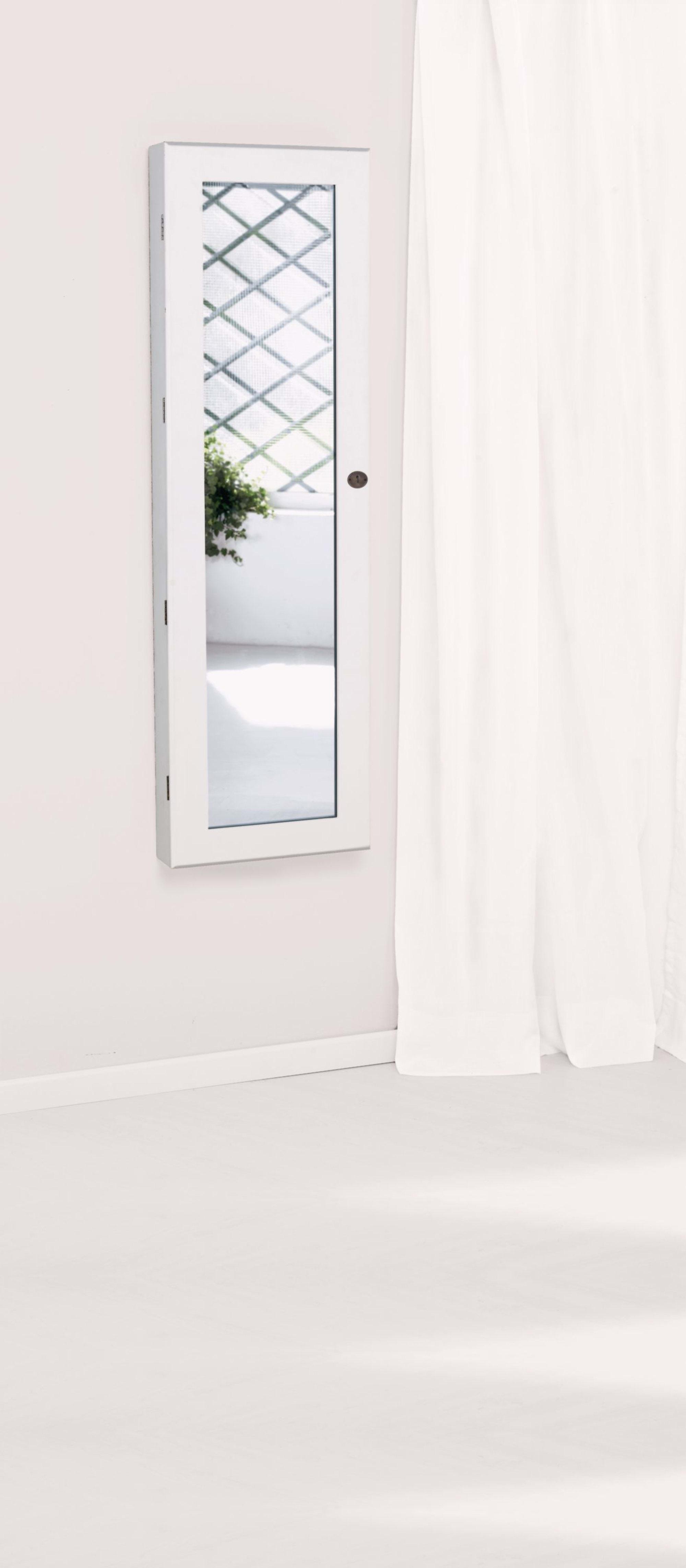 Schmuckschrank Spiegel, abschließbar, Holz, ca. B37xH10xT122 cm