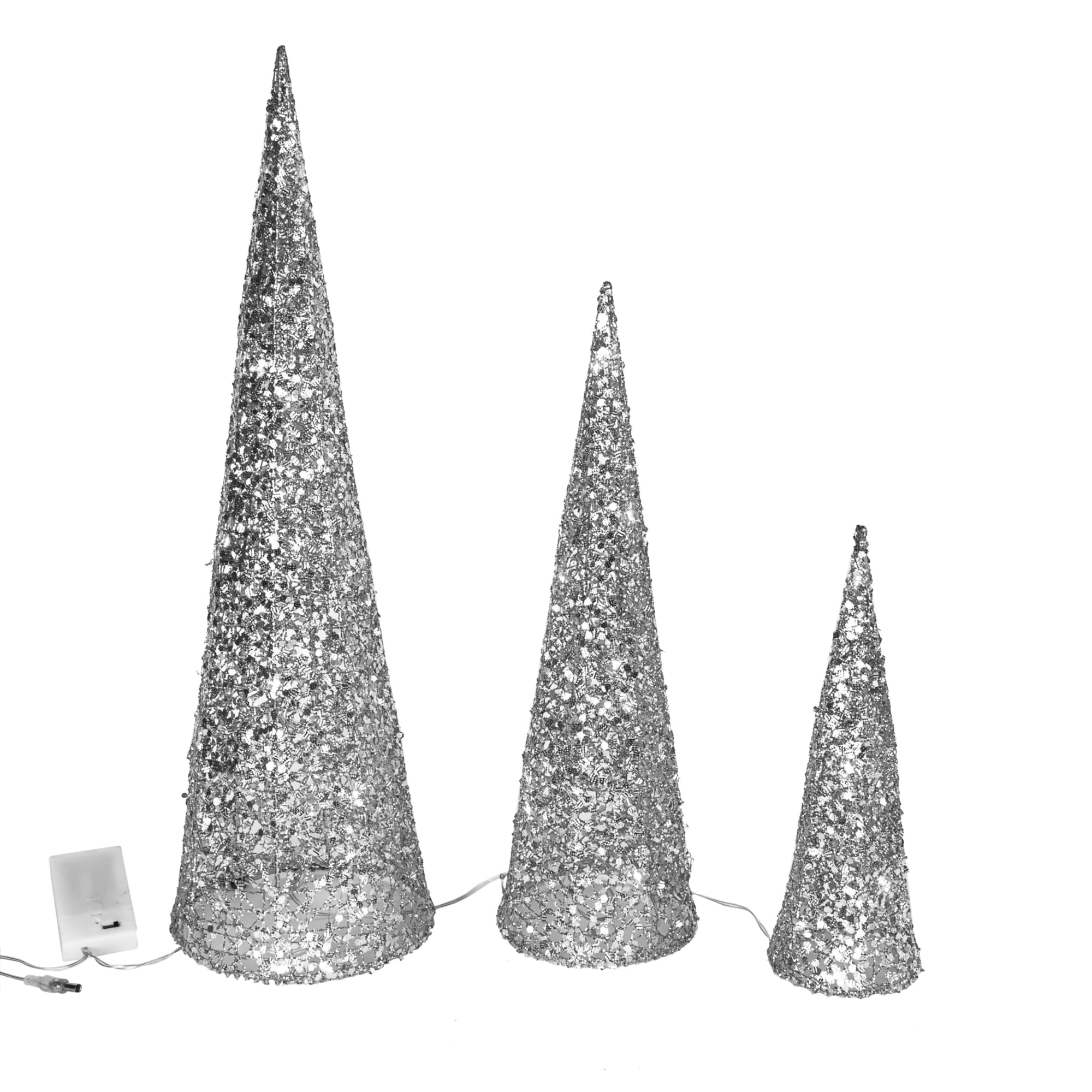Weihnachtsbeleuchtung Kegel.Led Deko Objekt 3 Tlg Kegel Silber