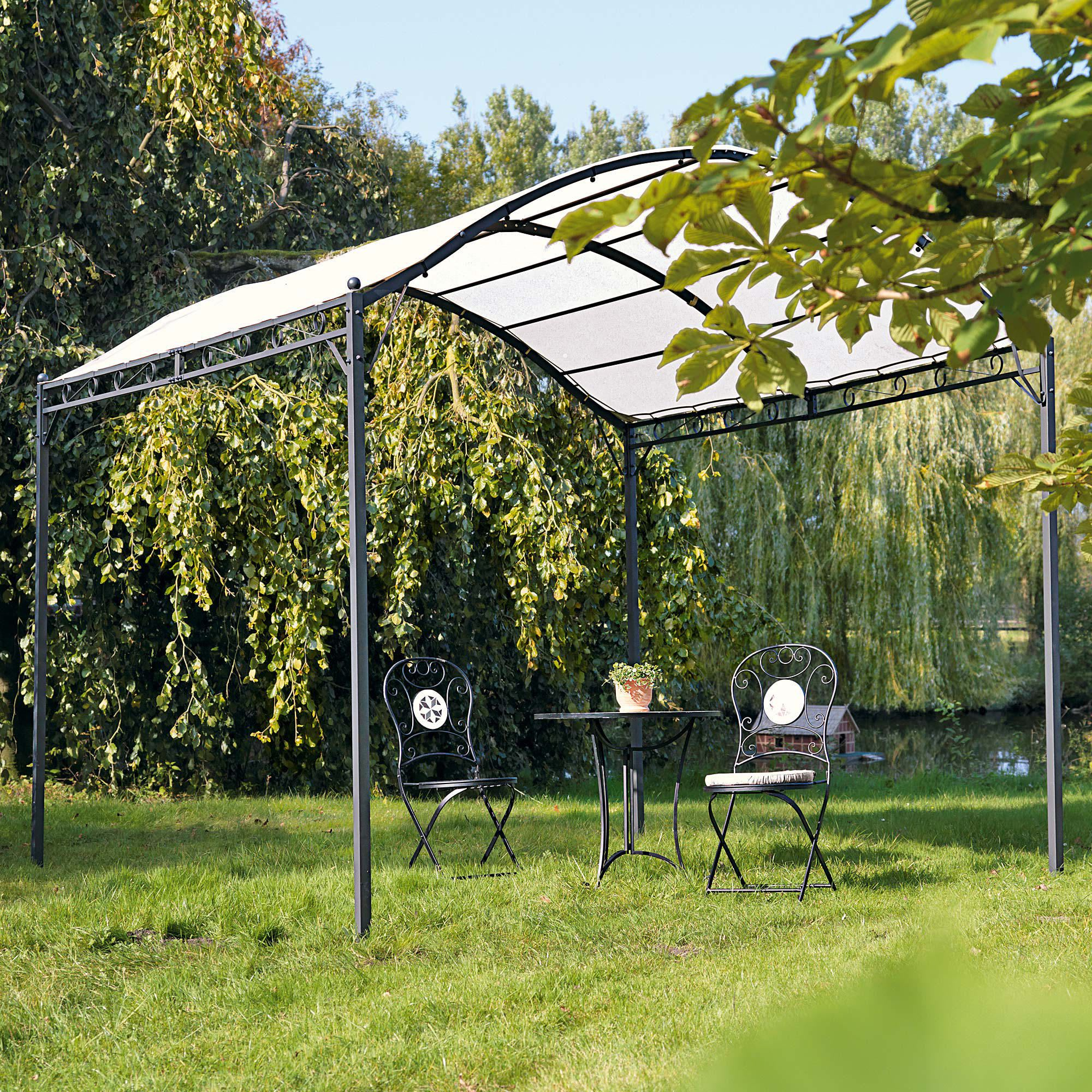 pavillon curve, lackiertes eisen pulverbeschichtet, dach aus polyester