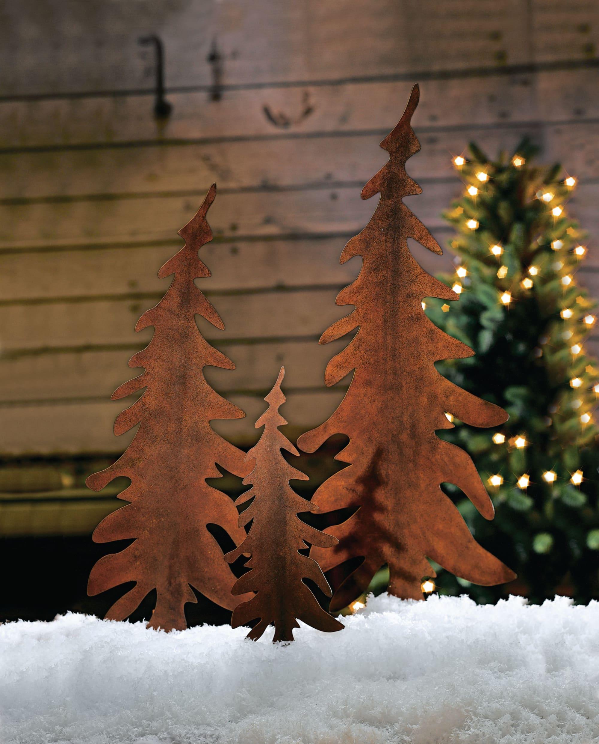 Gartenstecker Weihnachten.Gartenstecker Set 3 Tlg Tannenbaum Rostfinish Rustikal Metall