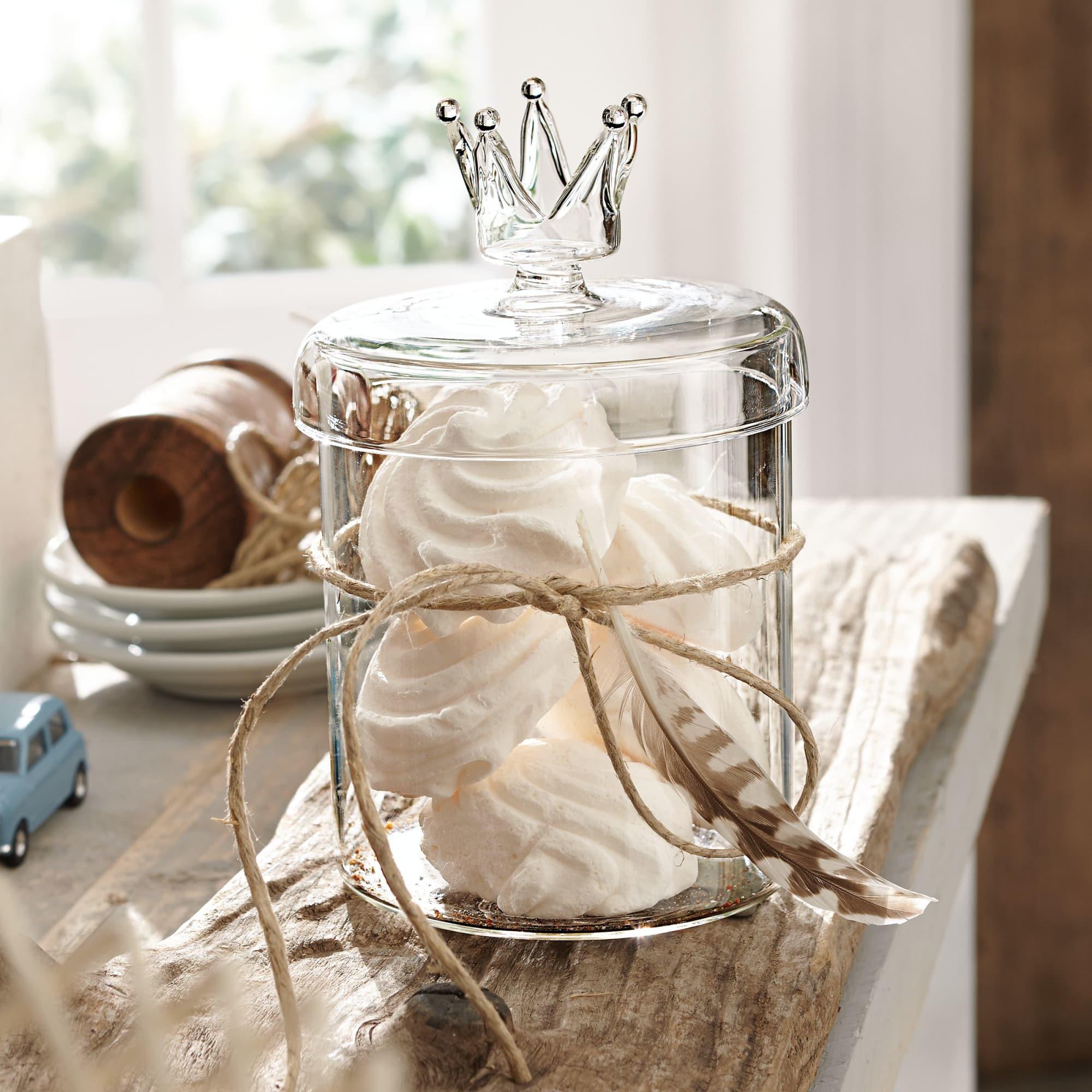 Aufbewahrungsdose Krone, lebensmittelecht, Glas