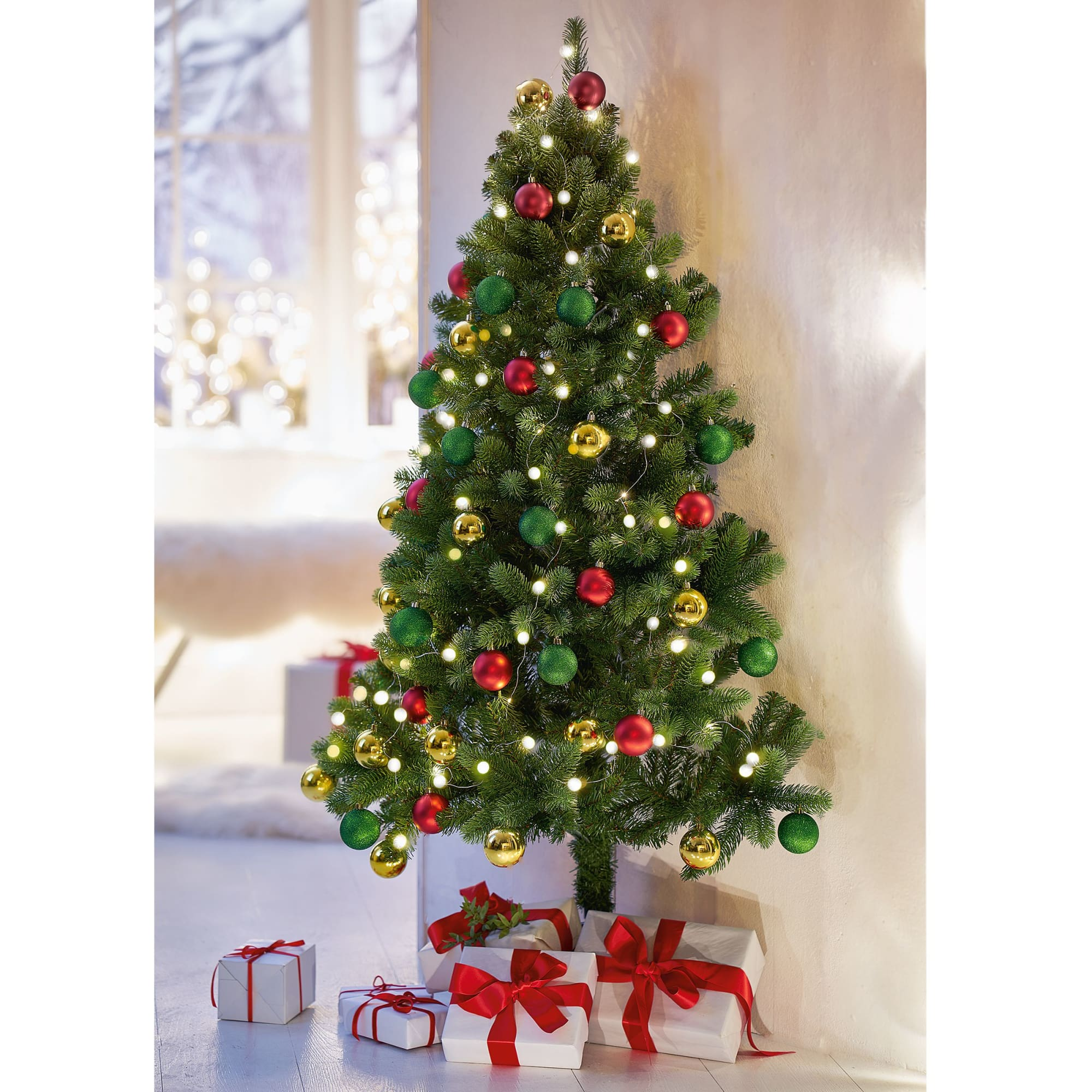 Weihnachtskugel-Set, 48 tlg. rot/gold/grün, klassisch, Kunststoff ...