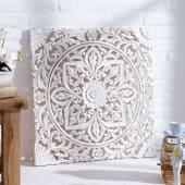 "Wand-Deko ""Holz-Ornamentik"" weiß, 60x60 cm, geschnitzt, Shabby Chic, MDF Katalogbild"