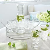 Flasche und Gläser-Set, mit Korb, 8-tlg., Glas, Metall Katalogbild