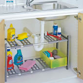 Küchen-Unterschrankregal Flexi, Breitenverstellbar, Aluminium, Kunststoff Katalogbild