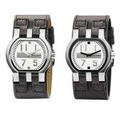 Herren-Armbanduhr, Edelstahlgehäuse, Lederarmband Katalogbild