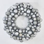 Dekokranz Silver, Kunststoff, Durchmesser ca. 50 cm Vorderansicht