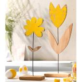 Deko-Objekt-Set, 2-tlg. Yellow Flowers, Kiefernholz Katalogbild