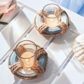 Teelichthalter Rettungsring, maritimes Dessin, Holz, Glas, Durchmesser ca. 11 cm, 3 cm hoch Katalogbild