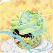 """Bild """"Cupcake on yellow"""" Vorderansicht"""