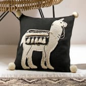 Kissenhülle Kiran, mit Reißverschluss und Lama-Applikation, Baumwolle Katalogbild
