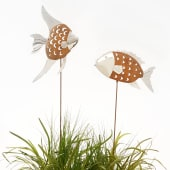 Gartenstecker-Set, 2-tlg. Fische Tobago & Trinidad, stylischer Materialmix, Metall, jeweils ca. 122 & 112 cm hoch Katalogbild