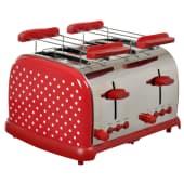 XXL Toaster Retro, für 4 Toastscheiben, Edelstahl Vorderansicht