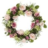 Dekokranz Rose, detailverliebt, Romantik-Look, Ø40 cm Vorderansicht