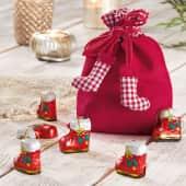 Weihnachtsbeutel mit Füllung Stiefelchen, 4 Nikolausstiefel, Edel-Vollmilchschokolade Katalogbild