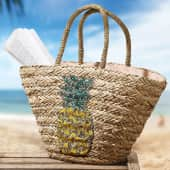 Korbtasche Ananas, mit Reissverschluss und Innenfutter Katalogbild