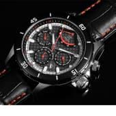 Herren-Armbanduhr Leder/Edelstahl, für Herren, Edelstahl, Leder Katalogbild
