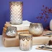Teelichthalter Silber D, Glas, Durchmesser ca. 7 x H ca. 7 cm Katalogbild