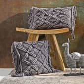 Kissenhülle mit Fransen Makramé, in 2 Größen erhältlich, 100% Baumwolle, ca. L30 x B50 cm, ca. L40 x B40 cm Katalogbild