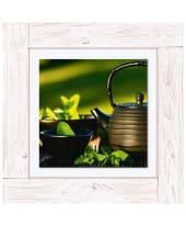 Bild Asiatische Teekanne, Minze, Tee Vorderansicht