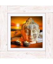 Bild Buddha-Statue bei Sonnenuntergang, Vintage, Leinwand Vorderansicht