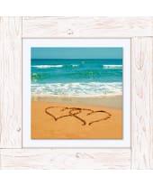 Bild Herzen im Sand, Vintage, Leinwand, Holz Vorderansicht
