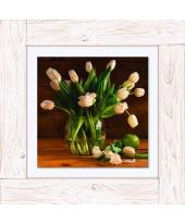Bild Weiße Tulpen in Glasvase, Vintage, Leinwand, Holz Vorderansicht