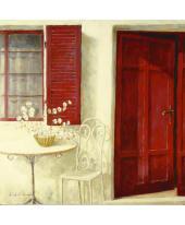 Bild Welcome Doorway-rote Haustür, Kunstdruck Vorderansicht