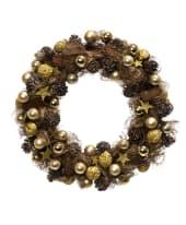 Dekokranz Goldtraum, Kunststoff/ Rattan/ Sisal, Durchmesser ca. 42 cm Vorderansicht
