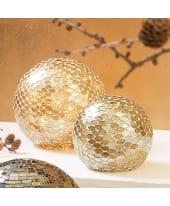Deko-Objekt Mosaik-Kugel, handgearbeitet, Glas Vorderansicht