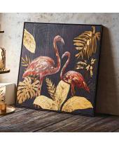 Bild Flamingo Paradise, Bedrucktes, Bemaltes Holzbild, ca. B82x H82cm Katalogbild