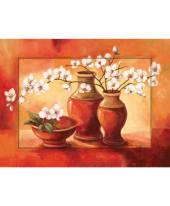 """Bild """"Weiße Kirschblüten mit roten Vasen"""" Vorderansicht"""