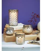 Teelichthalter -Set, 4-tlg. Silber, Boho-Style, Glas Katalogbild