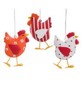 Dekohänger- Set 3 tlg. Hühner Vorderansicht