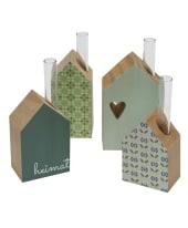 Minivasen-Set, 4-tlg. Häuser, Holz Vorderansicht