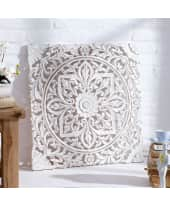 Wand-Deko Holz-Ornamentik, 60x60 cm, geschnitzt, Shabby Chic, MDF Katalogbild