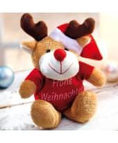Plüschtier Elch mit Shirt (o.Druck) Frohe Weihnachten, 100 % Polyester, sitzend 12 cm (inkl. Geweih) Katalogbild