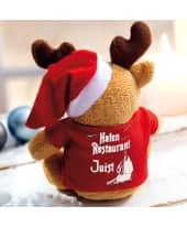 Plüschtier Elch mit Shirt (mit Druck) Frohe Weihnachten Rückansicht